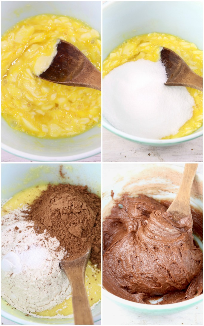 Step by step photos of making brownie batter
