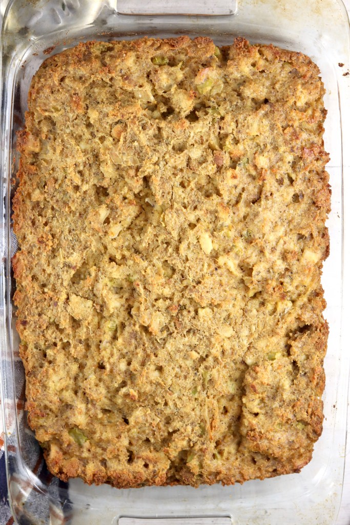 Baked casserole of chicken and dressing