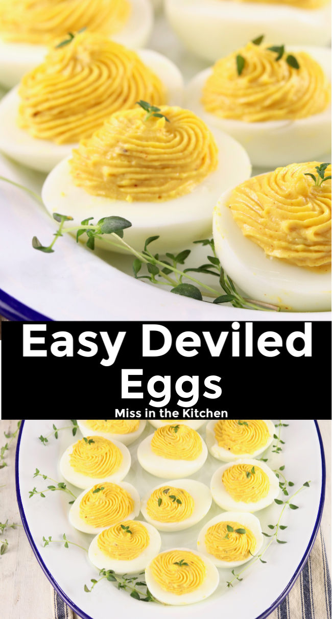 Collage with text overlay of Easy Deviled Eggs
