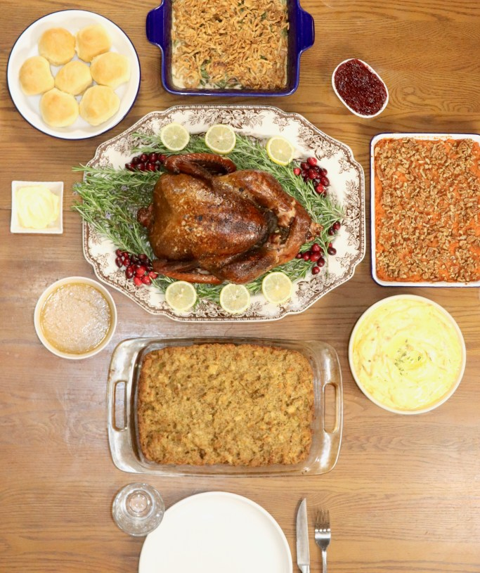 Overhead view of Thanksgiving dinner