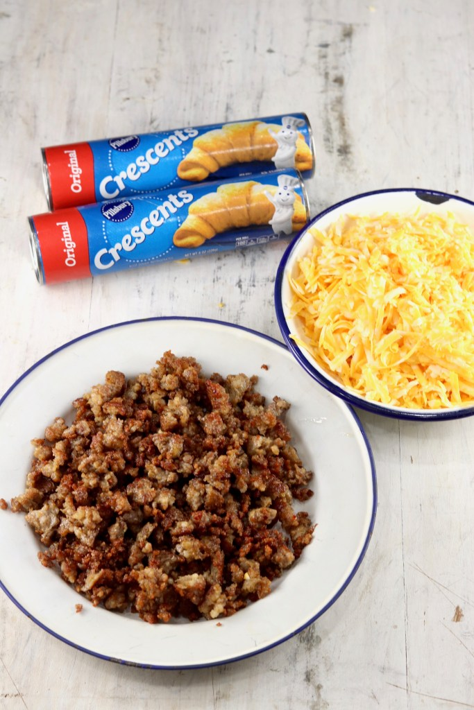 Ingredients for sausage stuffed waffles - cheese and crescent dough