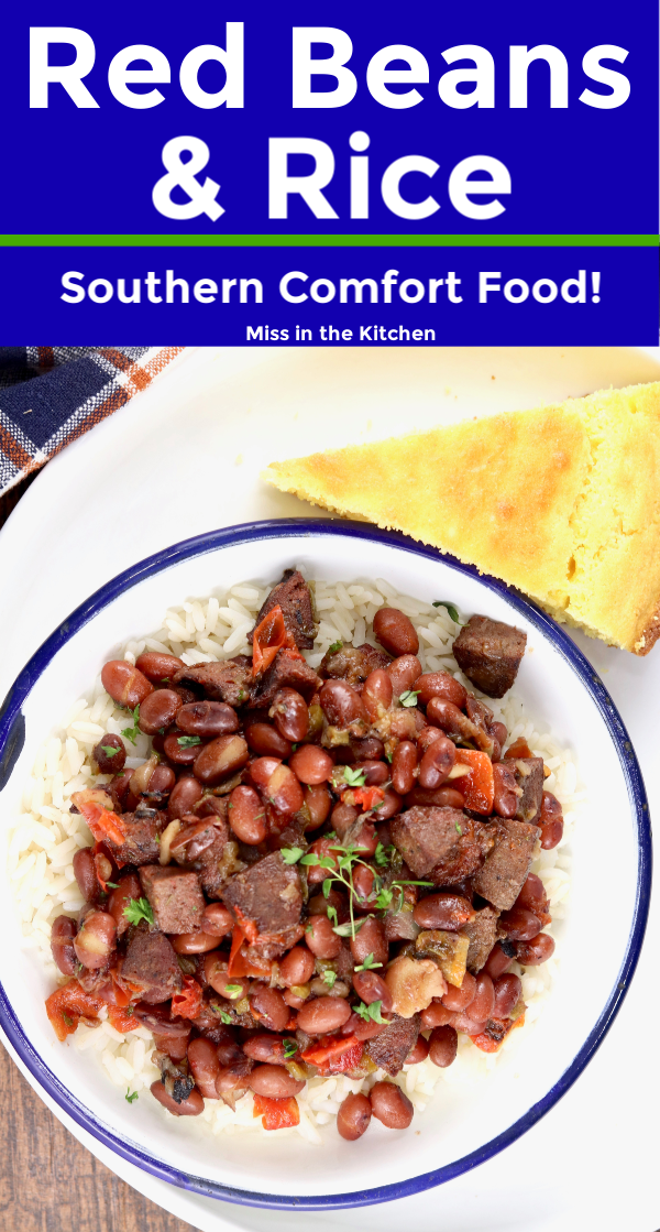 Red Beans and Rice with text overlay