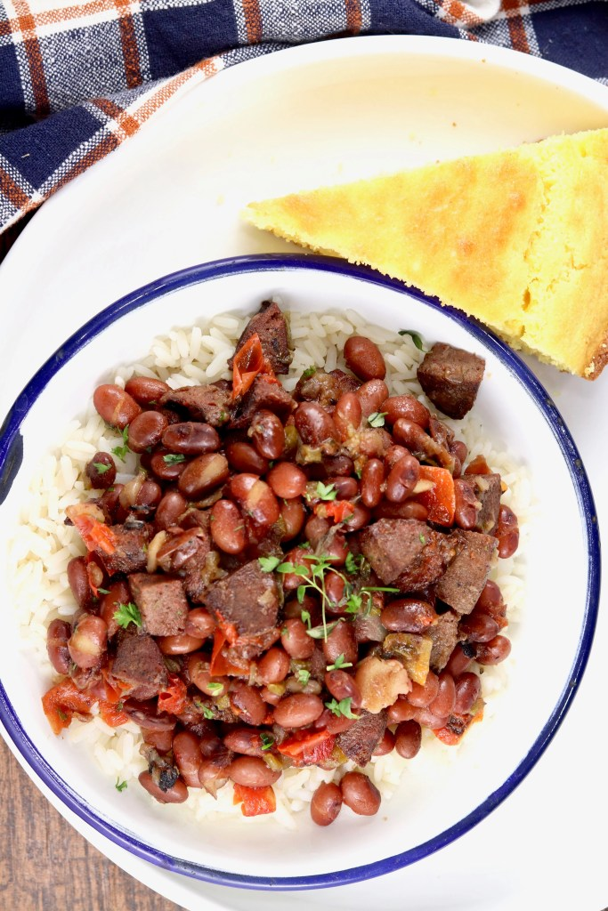 Red beans and rice with cornbread slice