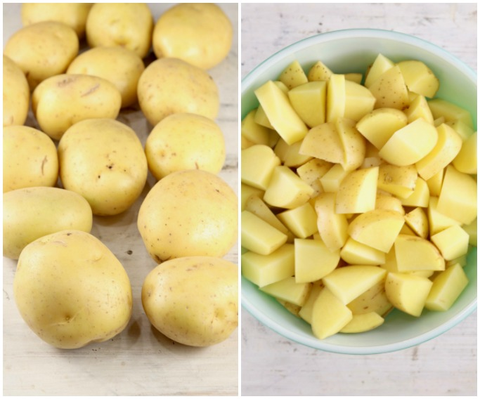 Yukon Gold Potatoes whole and cut up in a bowl