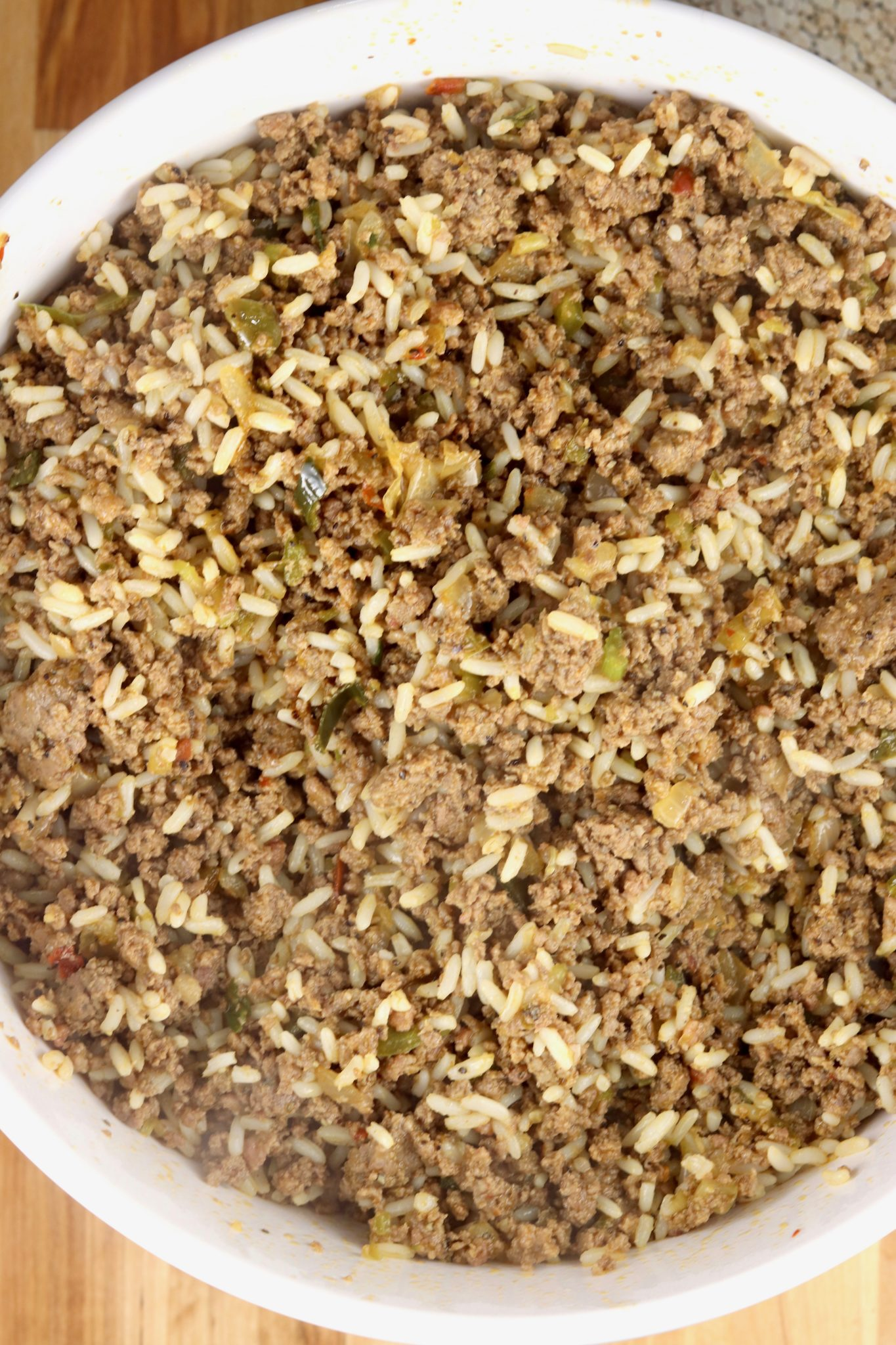 Rice and sausage mixture for Boudin