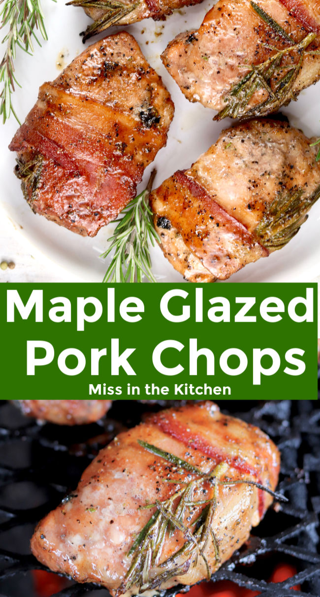 Grilled Pork Chops with bacon and rosemary