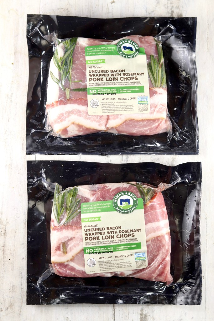 2 packages of Niman Ranch Uncured Bacon Wrapped Pork Loin Chops