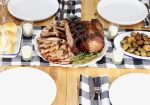 Table setting with pork rib roast