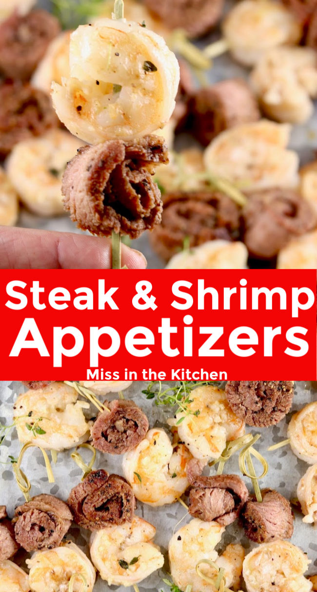 Steak & Shrimp on a appetizer pick