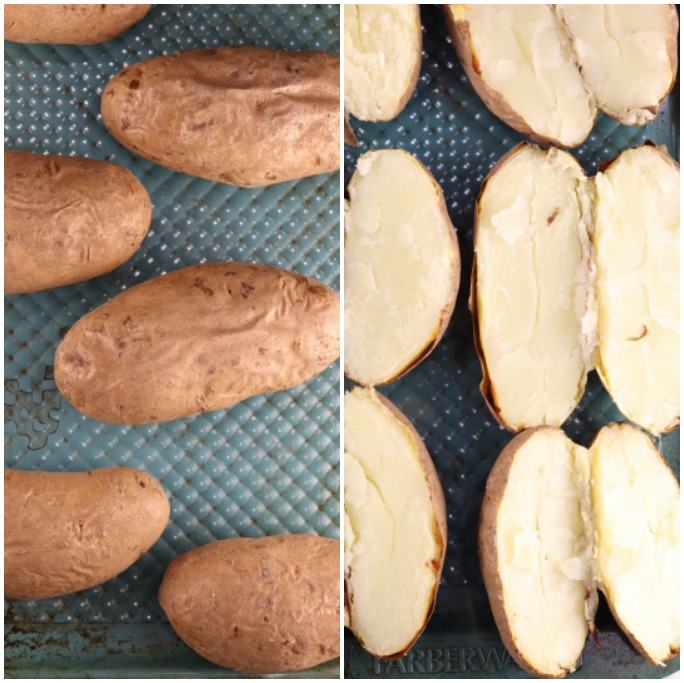 Baked potatoes whole and sliced for casserole
