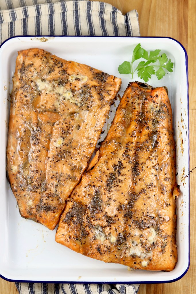 Grilled Salmon on a white platter