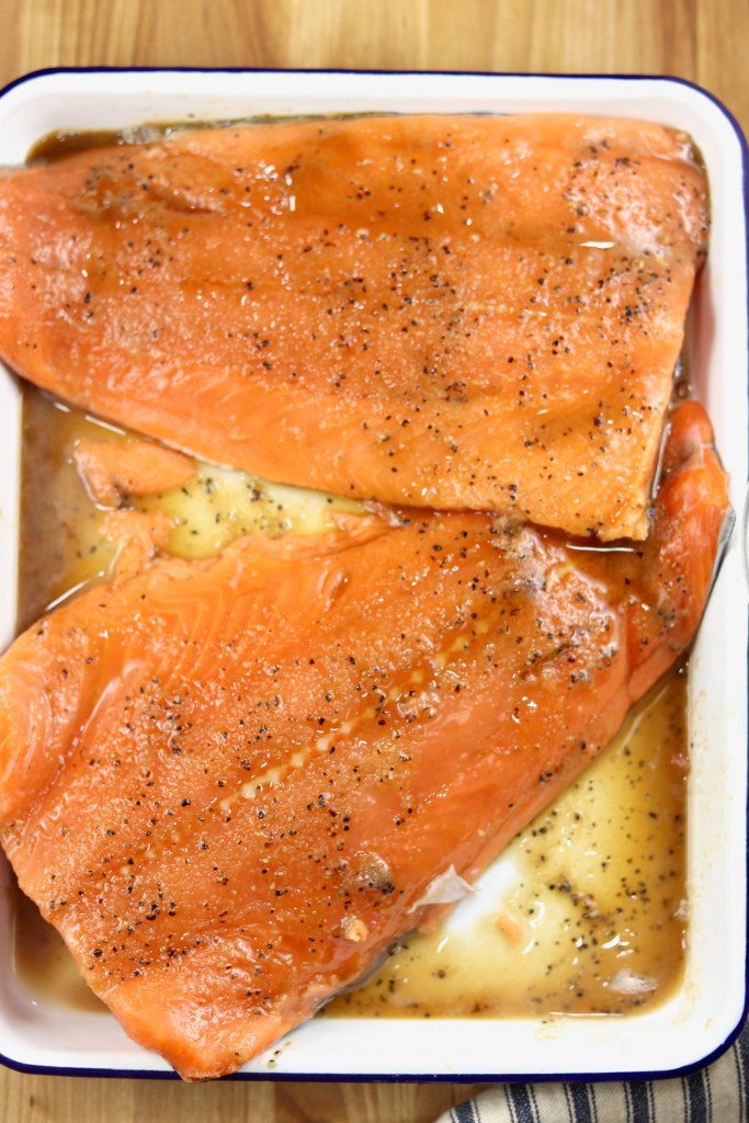 Alaskan salmon filets brushed with glaze