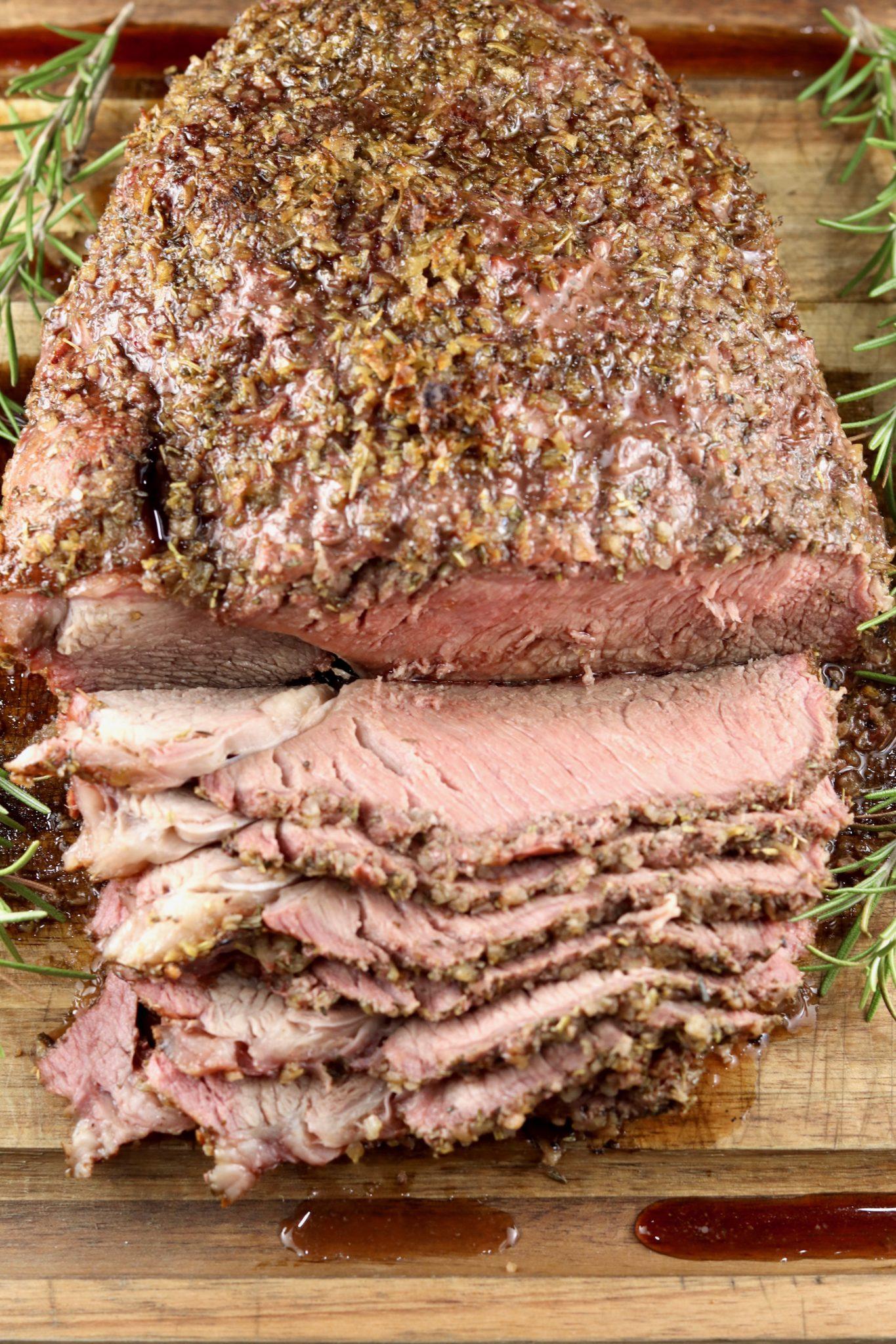 Overhead of sliced rare roast beef