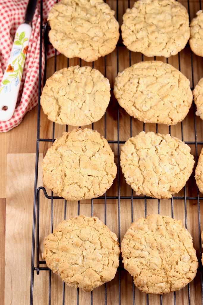 cooling peanut butter oatmeal cookies on a wire rack