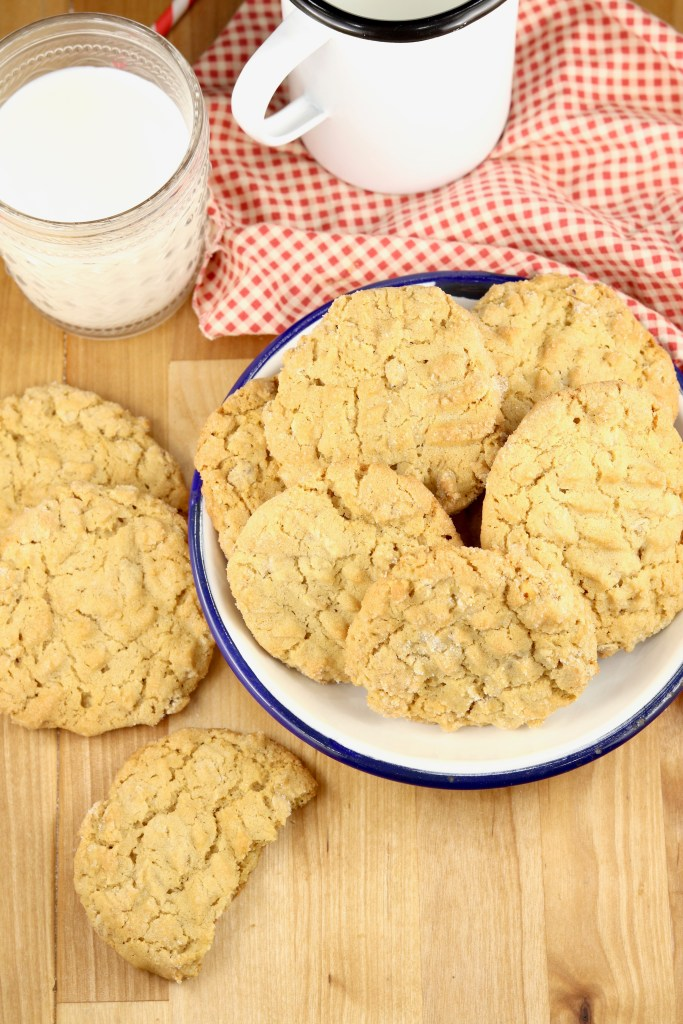 Peanut Butter Oatmeal Cookies with a glass of milk