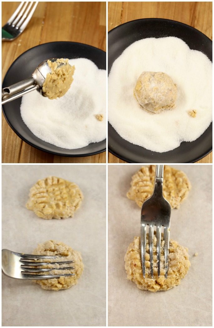 shaping cookie dough and mashing with a fork