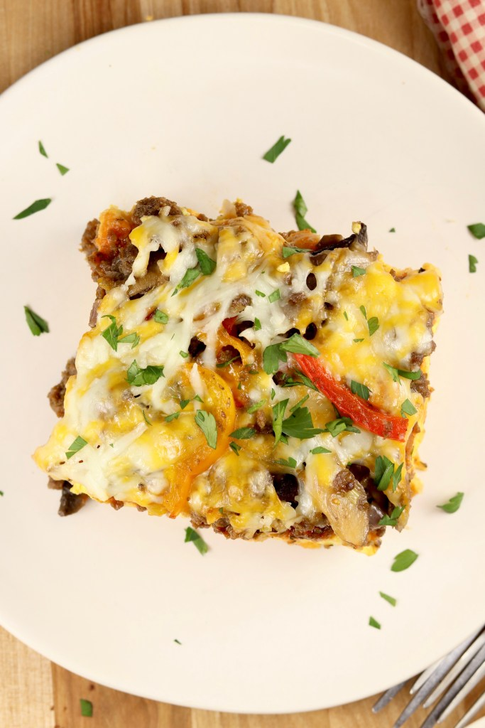 Breakfast casserole with pizza toppings