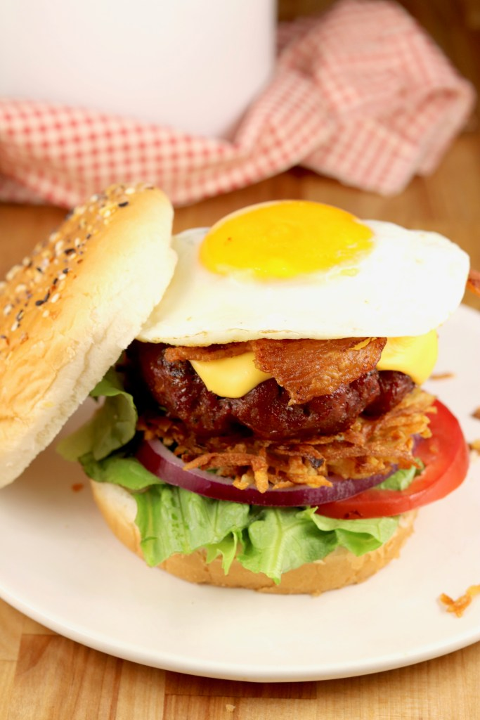 Brunch Burger with hash browns, bacon, egg and cheese