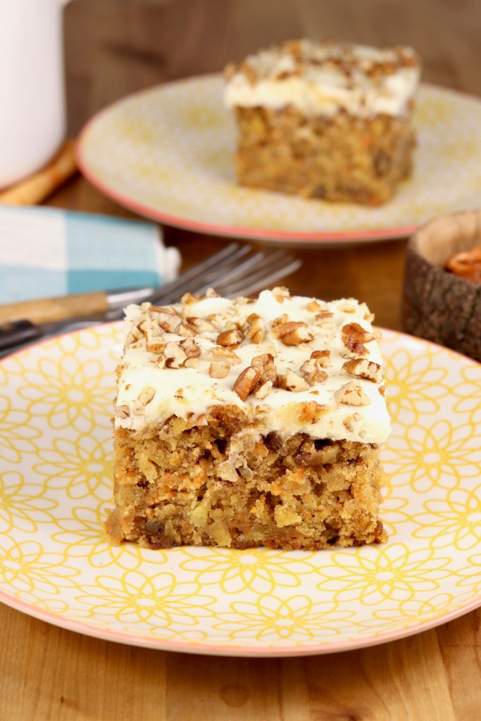 Easy Carrot Cake slice with cream cheese icing and pecans