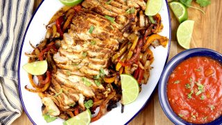 Grilled Chicken Fajitas {with grilled vegetables} - Out Grilling