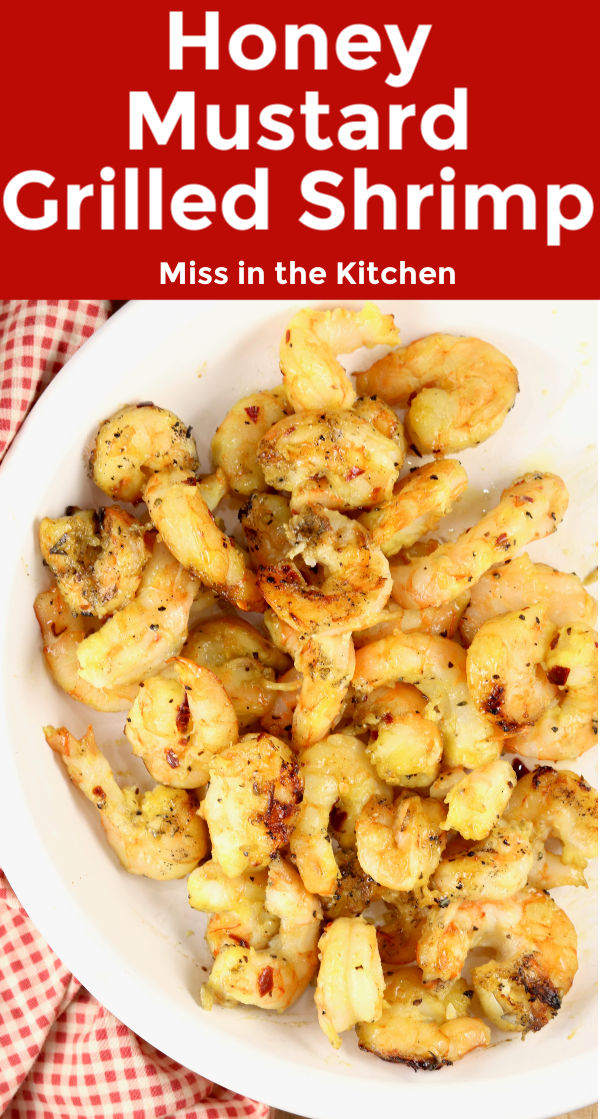 Honey Mustard Grilled Shrimp with text overlay