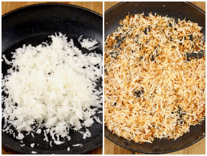 coconut in a skillet - toasted coconut