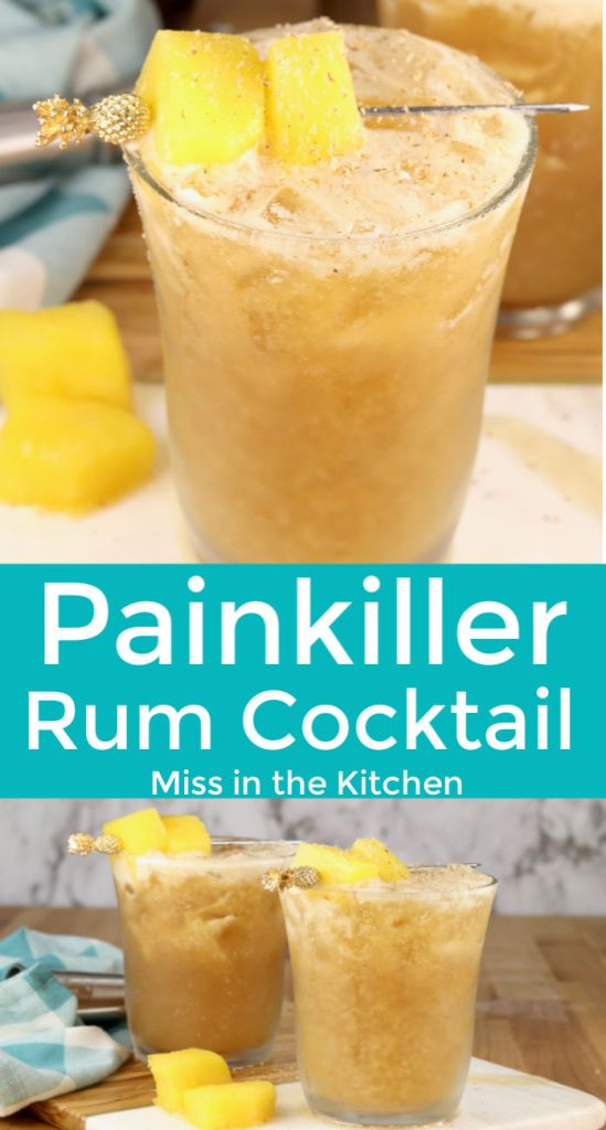 Collage of painkiller cocktail made with pineapple and dark rum