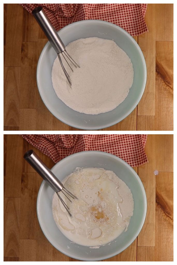collage: mixing bowl with flour and sugar/adding milk and vanilla