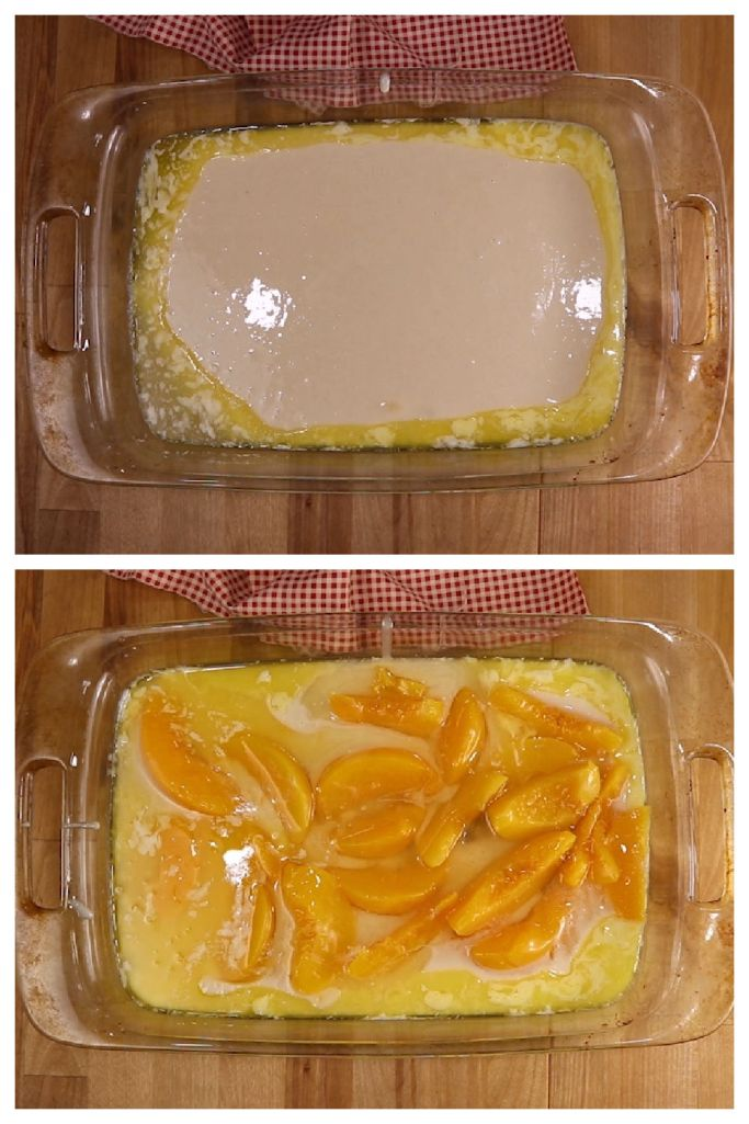 collage: butter and batter in baking dish/ topped with sliced peaches