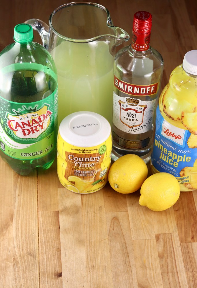 ingredients for pineapple vodka lemonade