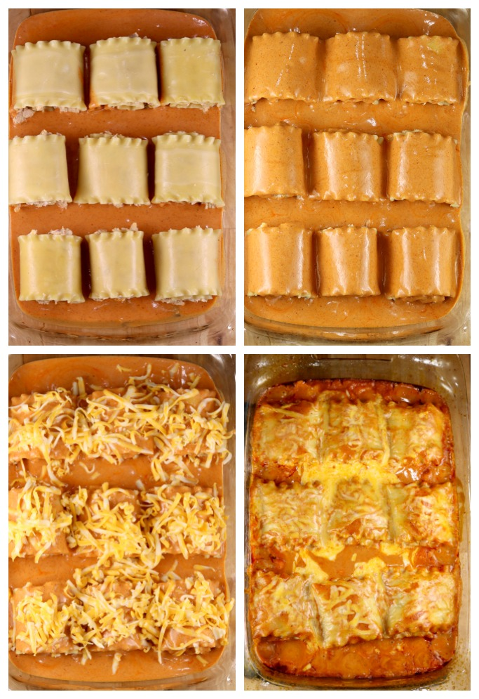 step by step of making chicken enchilada lasagna roll ups