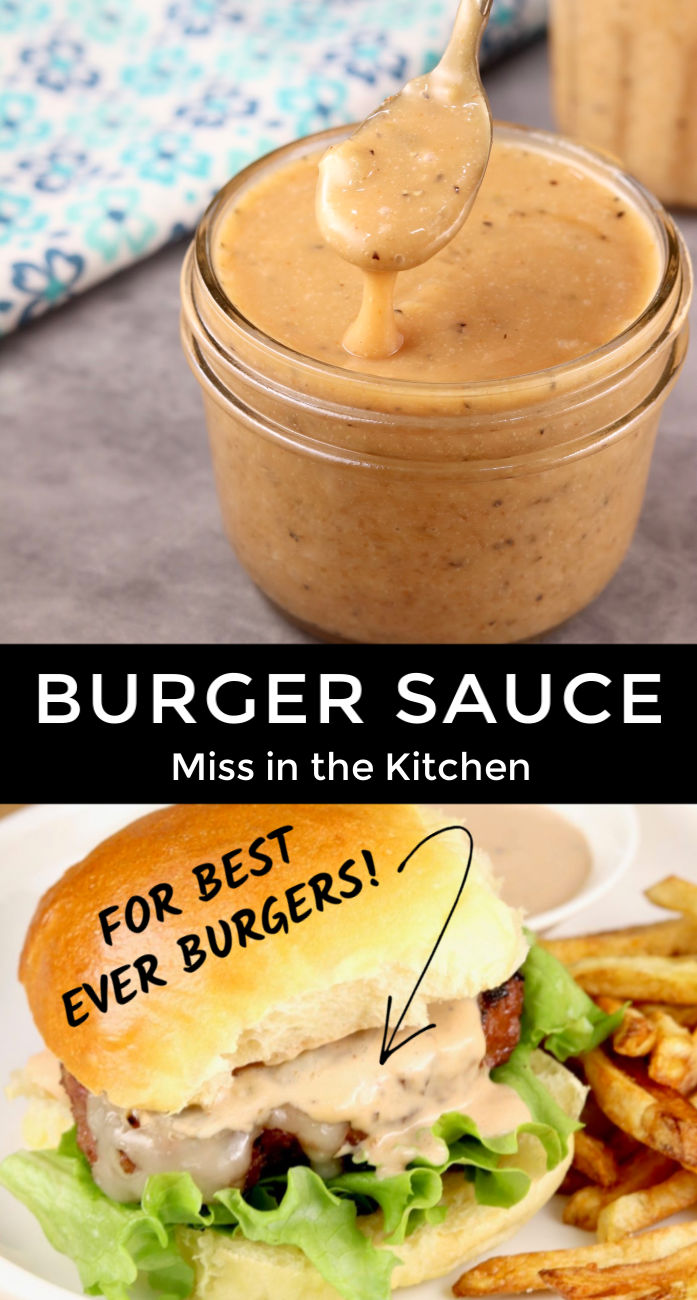 Burger Sauce in a jar over photo of burger with sauce collage