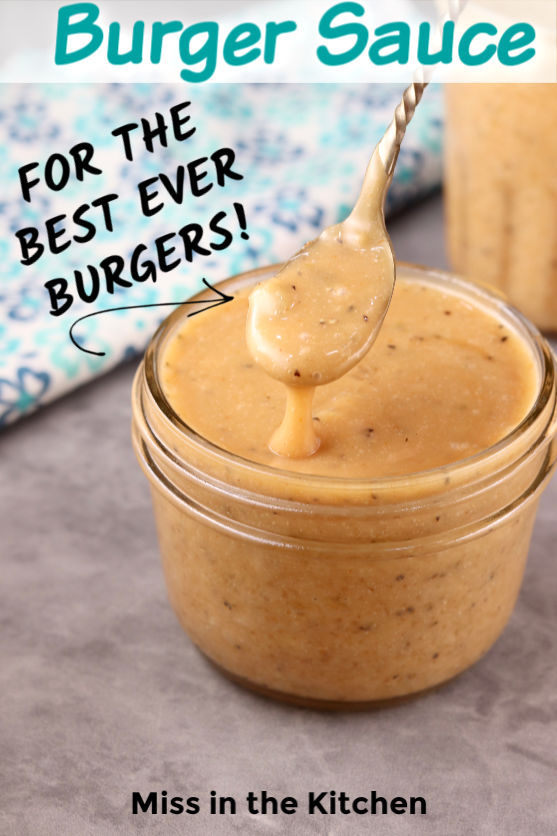 Burger sauce in a jar with spoon