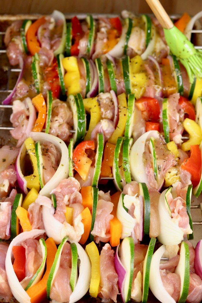 Chicken and Vegetable Kebabs brushed with marinade