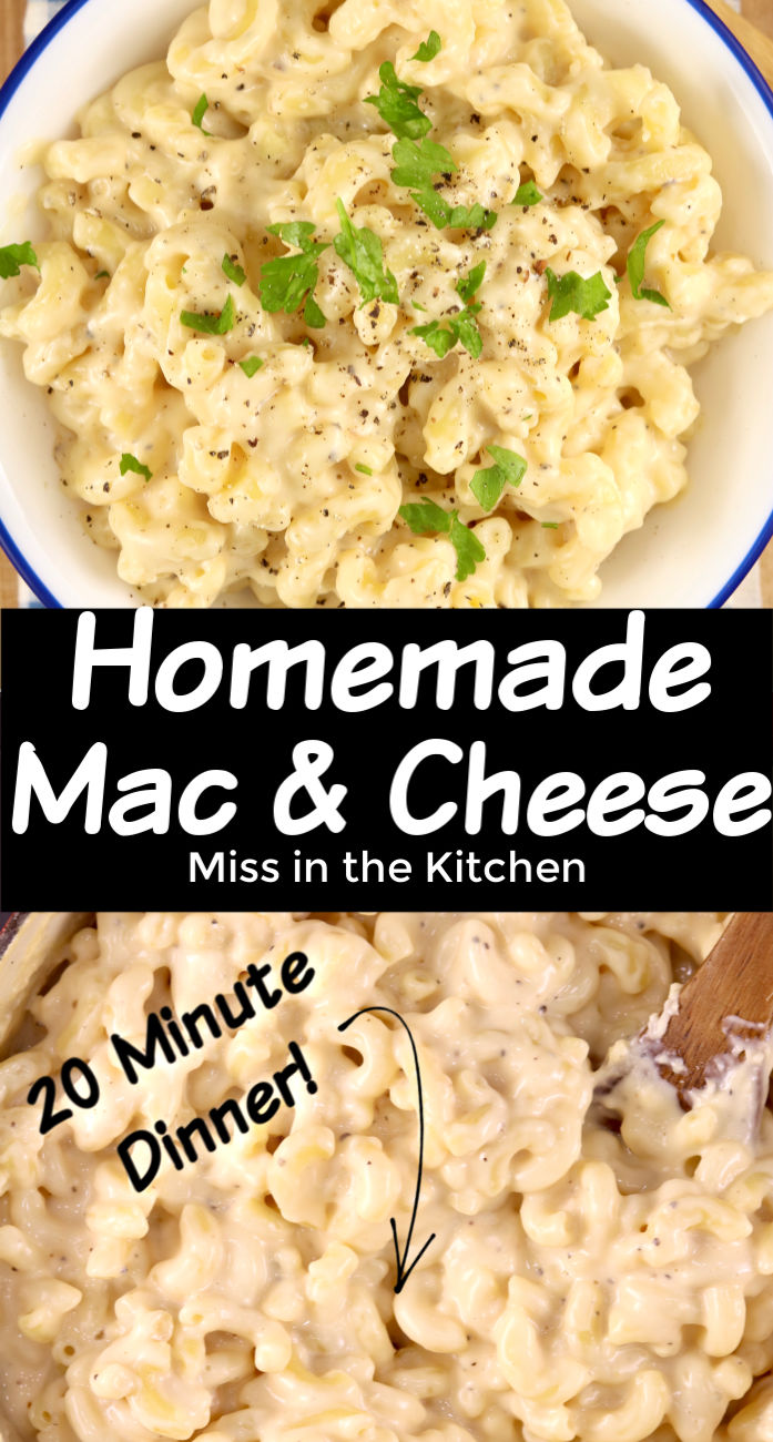 Homemade Mac and Cheese collage with text overlay