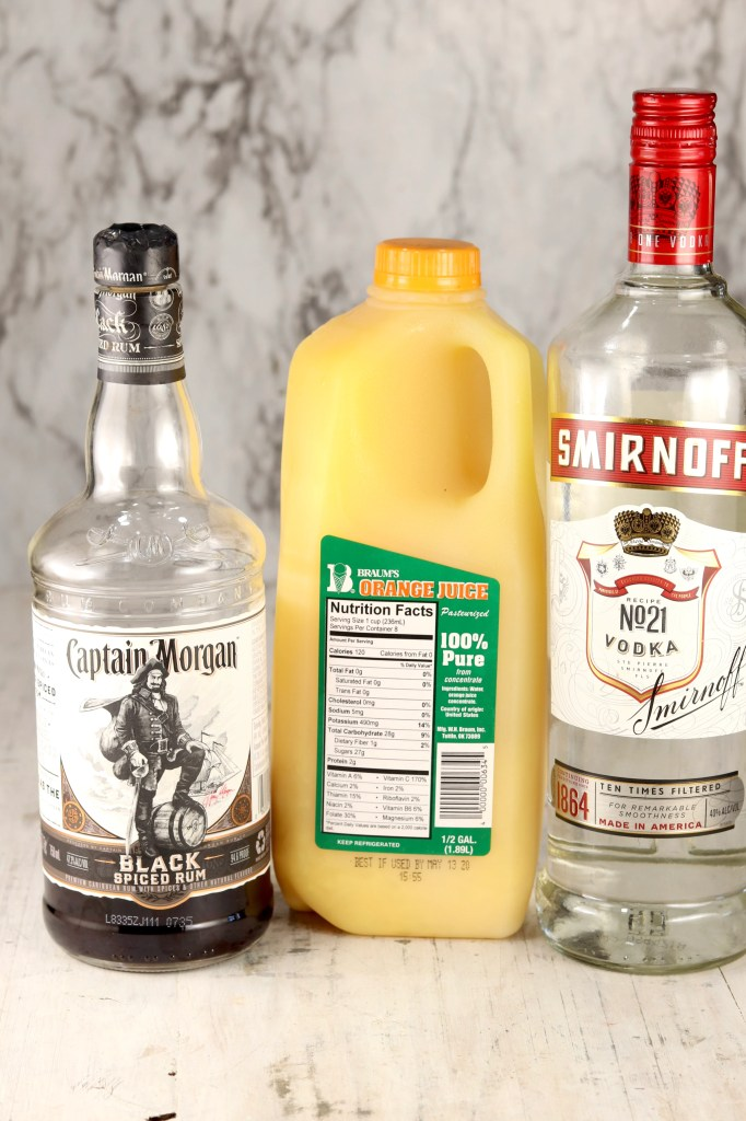 Ingredients for Brass Monkey - Black Spiced rum, Orange Juice and Vodka