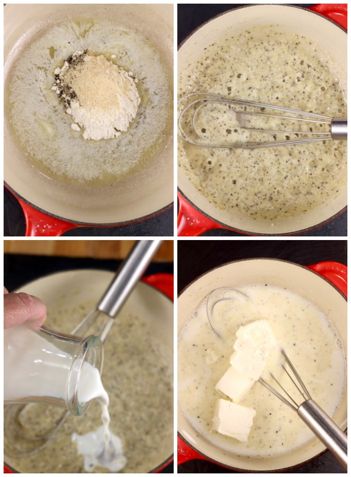 Step by step photos of making cheese sauce for mac and cheese