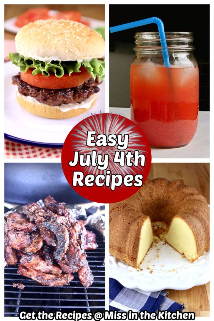 collage of July 4th recipes: burger, party punch, ribs, cake