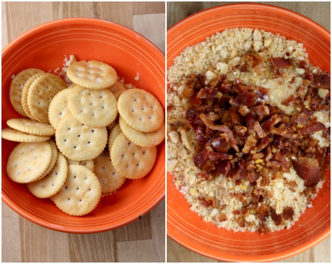 Collage- Ritz Crackers in a bowl, crackers crushed, bacon and melted butter