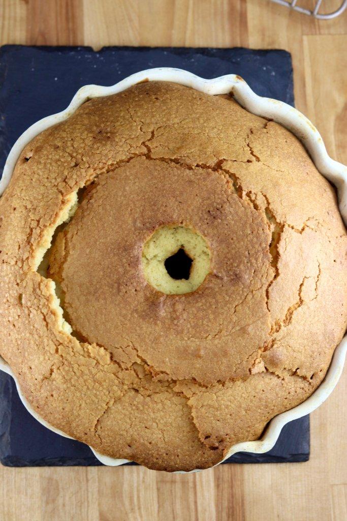 Baked bundt cake - overhead view