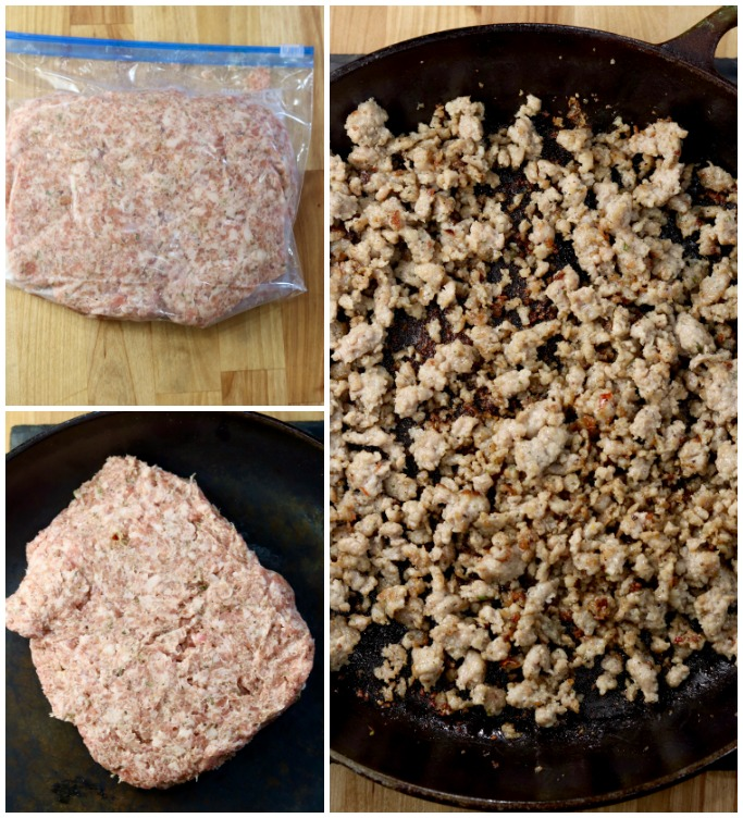 cooking sausage for gravy - photo collage