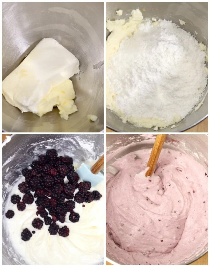 Making cream cheese blackberry icing with powdered sugar