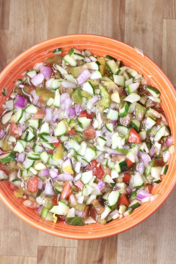 Chopped tomato, cucumber and vegetable salad