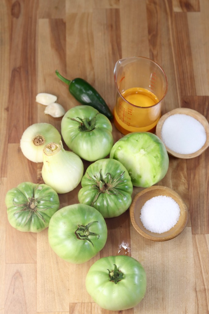 Ingredients for green tomato salsa
