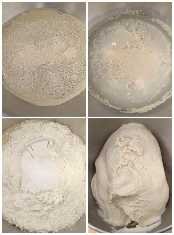 Step by step making focaccia bread dough with yeast