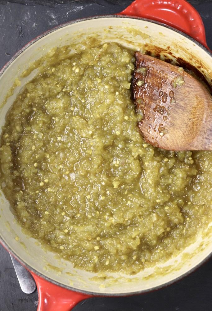Saucepan of green salsa