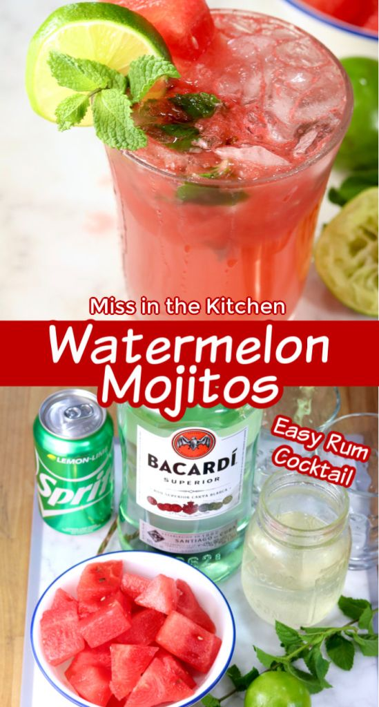 Watermelon Mojito collage with ingredients photo