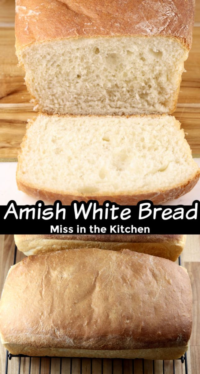 Collage of sliced Amish white bread, over baked loaf on a wire rack - title overlay in center