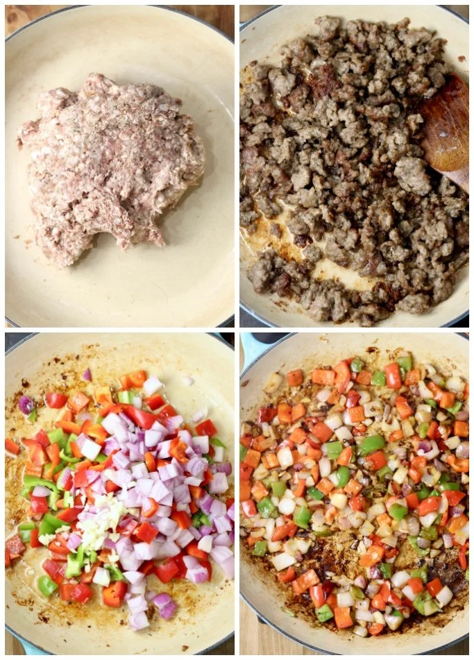 sausage in a skillet, browned sausage. Peppers, onions, garlic in pan, cooked vegetables - collage for sausage pepper rice