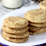Snickerdoodles on a white platter -stacks of 4
